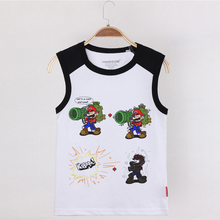 2019 Hot Sale Camisoles Kids Sleeveless Shirt Funny Mario Tank Top Children Summer Cotton Undershirt Boys Clothes Printed Vest
