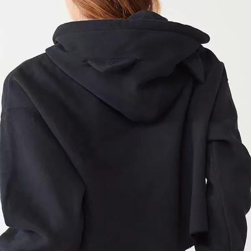 Women ARMY BTS BT21 Printed Hoodies Crop Tops Cute Cat Ear Long Sleeve Shirts Cropped Hooded Harajuku Kawaii Pullover Sweatshirt