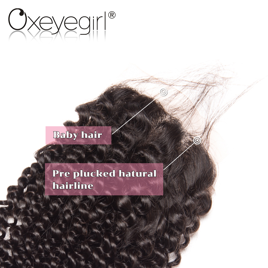 Oxeyegirl Brazilian Hair 4 x 4 Lace Closure Kinky Curly Weave Human Hair Lace Closure With Baby Hair NonRemy Hair 130% Density
