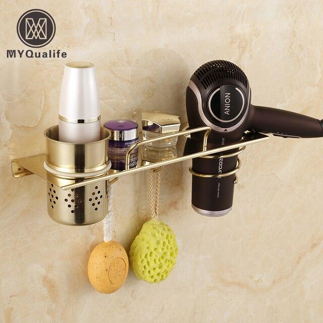 Chrome Golden Wall Mounted Bathroom Storage Holder Hair Dryer Towel Hooks Commodity Shelf