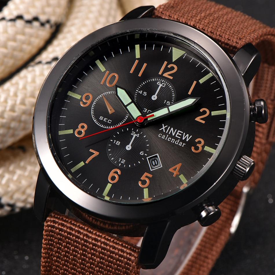 2018 XINEW Top Brand Men Watches Calendar Quartz Fashion Nylon Band Cheap Luminouis Hand Sports wristwatch relogio male original