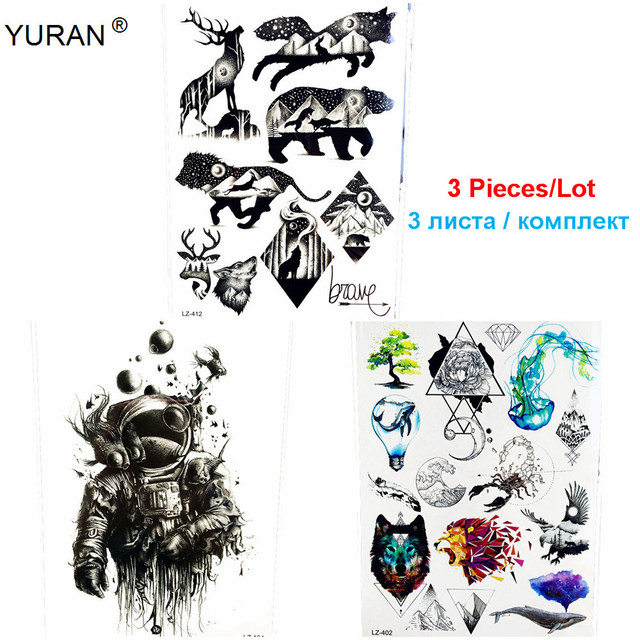 58d84e33f 3 Pieces/Lot Waterproof Fake Tattoo Galaxy Planets Deer Wolf Decals  Geometric Body Art Flash Temporary Tattoo Stickers Men Women