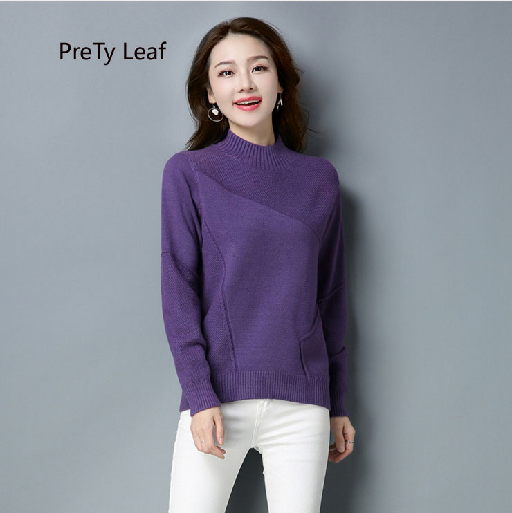 2018 autumn and winter new sets of large size knit bottoming sweater