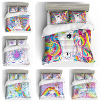 3D watercolor unicorn quilt cover bedding set Duvet Covers Pillowcases comforter bedding sets unicorn Children Room decor
