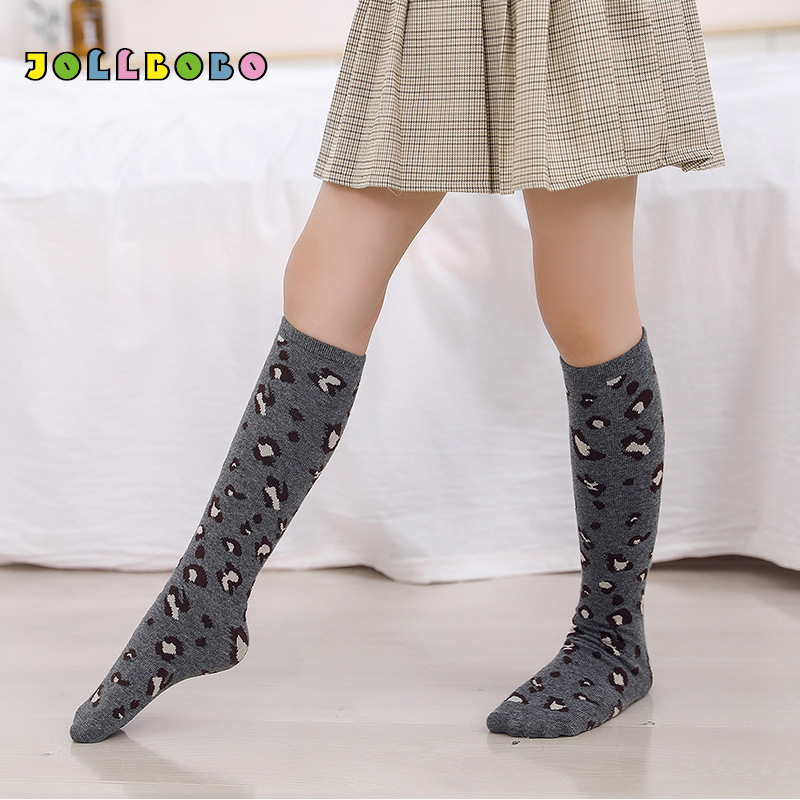 Spring Autumn Girls Knee High Socks Leopard Print Striped Soft Warmer Cotton Long Socks Kids 2-12T Retails Wholesale Socks Baby