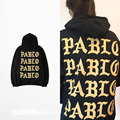 Good Quality Mens Pablo Kanye West Hoodies Autumn 100% Cotton Gold Golden Letter Black The Life Of Pablo Hooded Sweatshirts