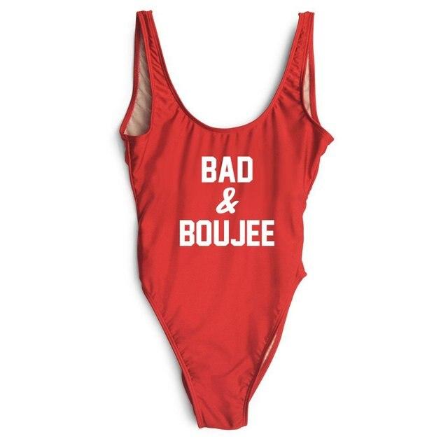 550f295822375 BAD BouJEE Letter Custom SWIMSuit One Piece Swimwear Bathing suit Women  Sexy Bodysuit Funny Swimsuits Jumpsuits Rompers