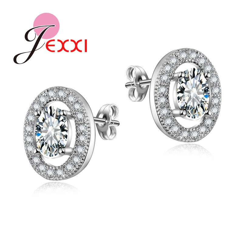 JEXXI Fashion Oval Design With Colorful Shiny CZ Crystal  S90 Silver Fashion Earrings For Women Stud Wholesale