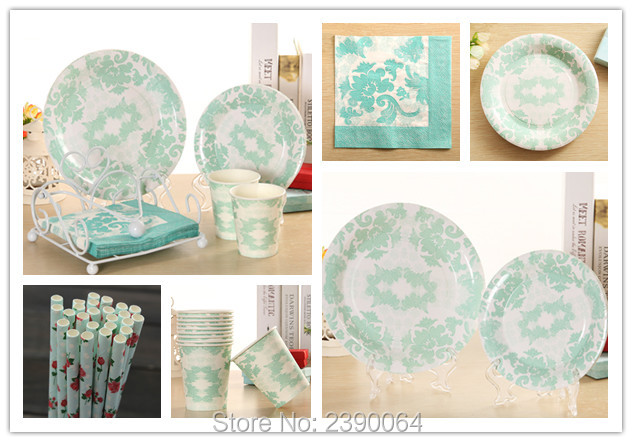 Tiffany Blue Party Paper Tableware Products 20 Sets Wedding Table Setting Boys Baby Shower Paper Plates  sc 1 st  AliExpress.com & Tiffany Blue Party Paper Tableware Products 20 Sets Wedding Table ...