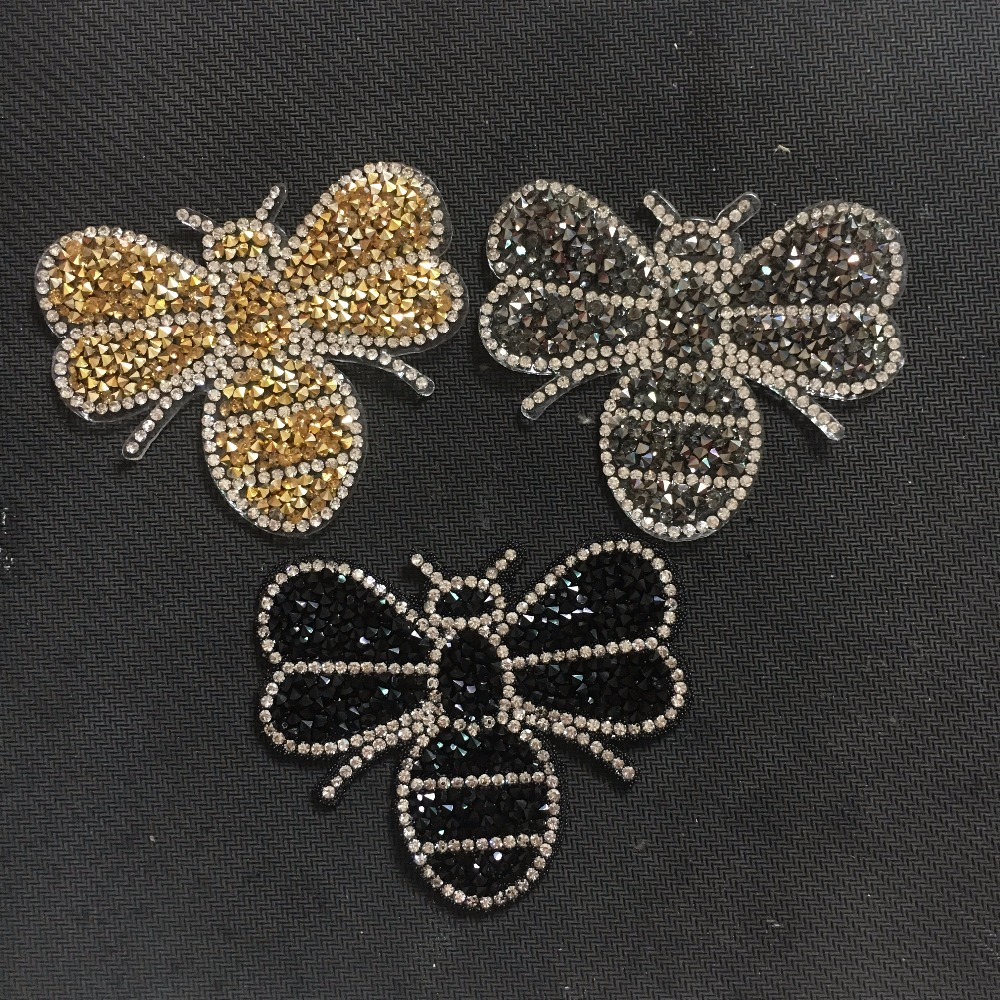 New Arrival Crystal Bee Patches for Clothing Fashion Decoration Stickers DIY Accessories Iron on Rhinestones Bug Patch 3 Colors