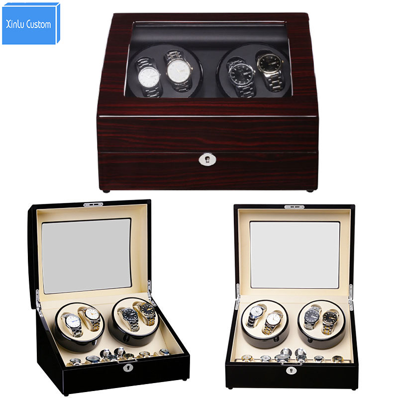 Luxury Wood/Leather Watch Winder with Lock/Plug Watch Rotary 4+6 Grid Watch Rotator Box Quality Accessories Japan Mabuchi Motor new arrival black color carbon fibre wood watch winder german ultra quiet 5 modes watch winder