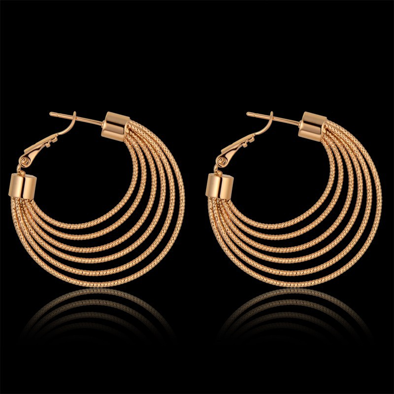 Womens Earring 6 Layer Circle Big Hoop Earrings For Women Vintage Gold Color Party Basketball Wives Earrings,Brinco