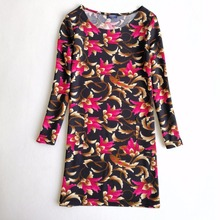 Idealark Flower Print Long Sleeve Casual Autumn Dress