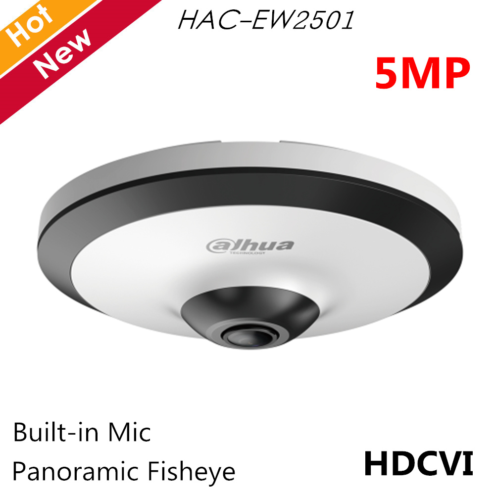 Dahua 5mp Panoramic Fisheye Camera HDCVI Camera Built-in Mic Smart IR 10m Survillance Camera HAC-EW2501 For CCTV Systems