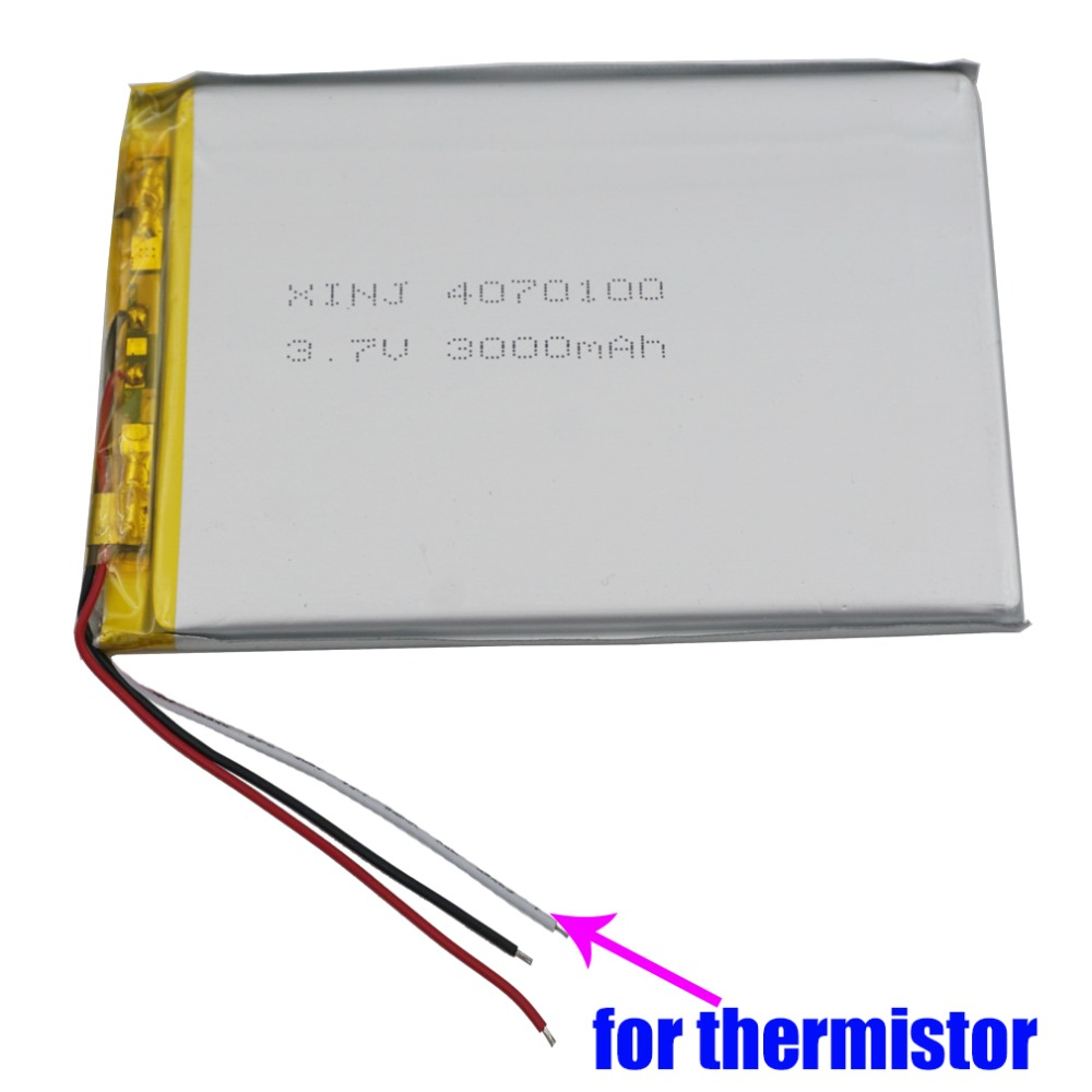 XINJ 3.7V 3000mAh 3wires for thermistor Lithium Polymer Battery Li ion li-po cell <font><b>4070100</b></font> For E-book MID Portable DVD Tablet PC image