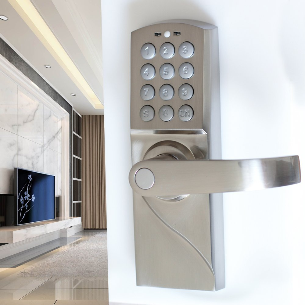 Password Keypad Door Lock with Backup Key Electronic Entry by Password Code Combination Password Key