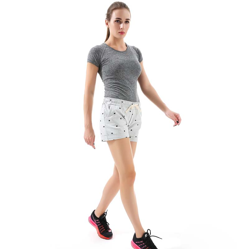 Women's home casual elastic waist cotton shorts printed cat pumping self-cultivation shorts candy shorts 5
