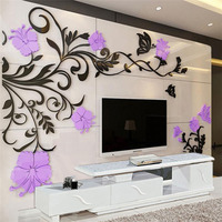 New Flower Vine Design Acrylic Stickers DIY Wall Decoration Sticker Room Cafe Large TV Background Wall Decoration