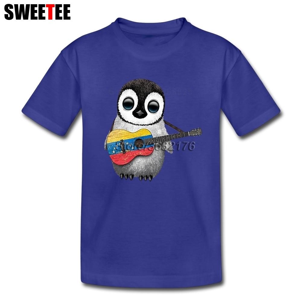 Детские Пингвин играет Венесуэлы флаг Гитары футболки для малышей короткий рукав Футболки для женщин детские футболки верхняя одежда для О... ...