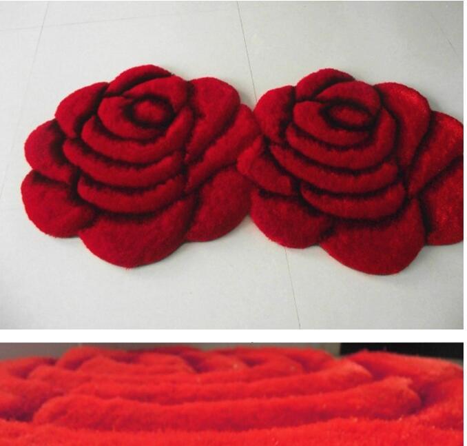 70X140 см, коврик с 3D рисунком, ковер, стерео, роза, двойной цветок, ковер в полоску, Южная Корея, проволочный ковёр для гостиной, спальни, ковер - Цвет: Красный