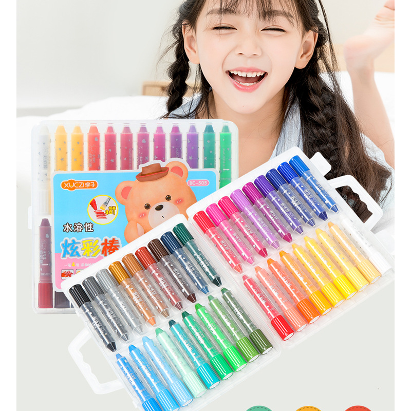 Primary school students rotating colorful sticks Water soluble oil pastels 36 color children's crayon painting set stationery grasp crayon 36 colors rotating water soluble oil painting sticks can be washed non toxic brush crayons effect of watercolor