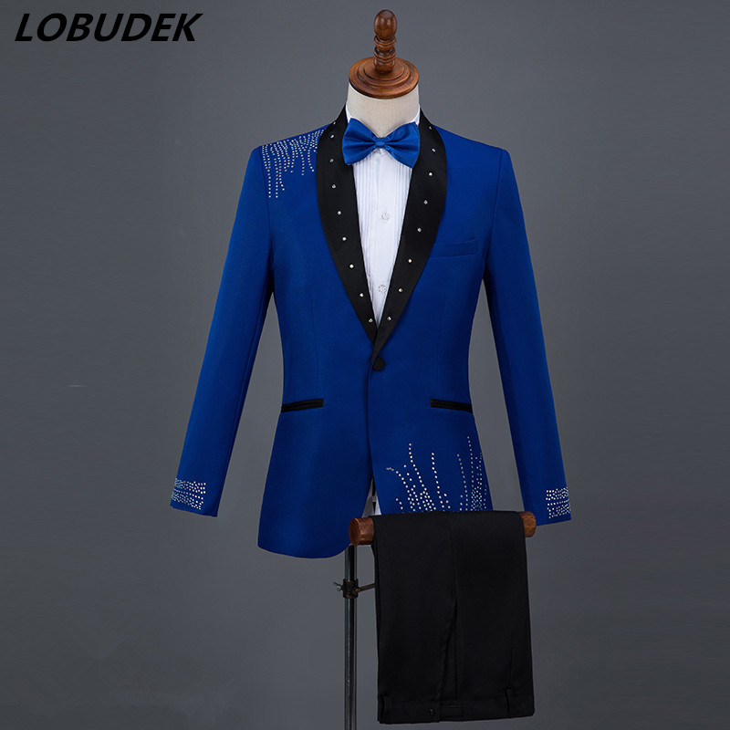 2018 Mens Suits Blue Black White Red Crystals slim Blazers Pants suit Singer Compere Host Wedding Master Chorus stage Costumes