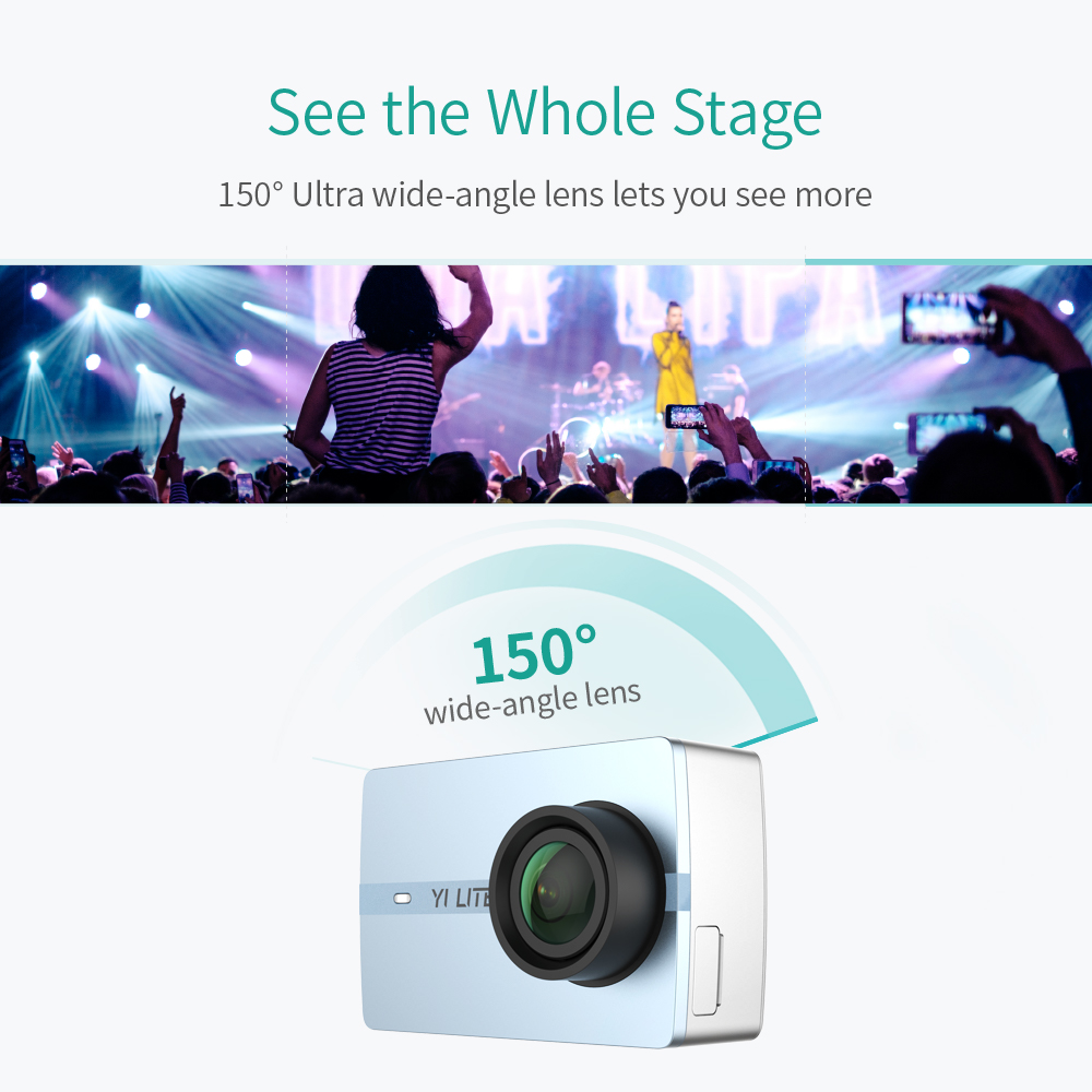 YI Lite caméra d'action 16MP Réel 4 K Sport Caméra avec WIFI Intégré 2 Pouces écran lcd 150 Degrés Objectif Grand Angle noir - 5