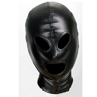 black Leather Bondage full cover head Mask Erotic Costumes Accessory Sexy Fetish Hood with zip for Ladies
