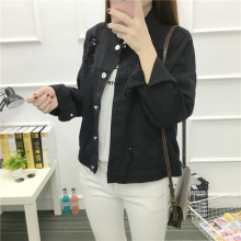 Denim stand Collar Slim White Black Jeans