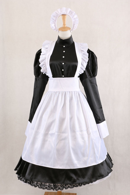 New Arrival Lockable Satin Sissy Maid Black Dress Gothic Lolita Dresses  Custom Made