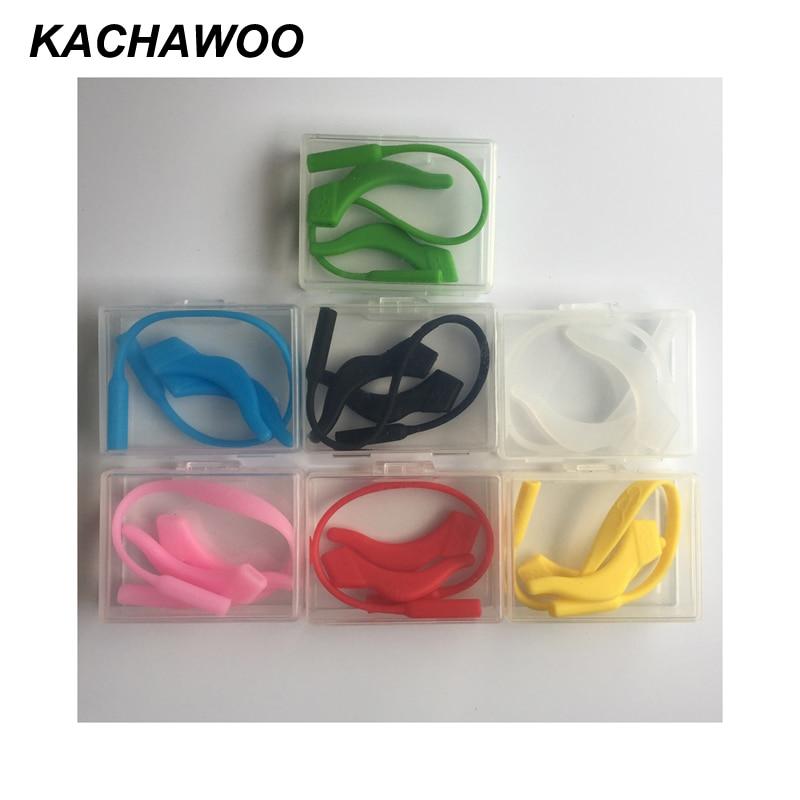 Kachawoo wholesale 12pcs kids eye glasses strap anti-slip elastic silicone cord anti slip ear hook kids eyeglass accessories