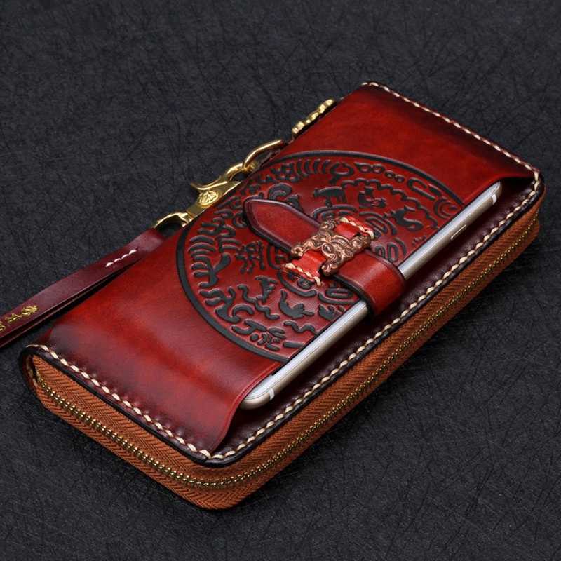 Cow Leather Wallets Nine Palace Cards Pure Copper Bag Purses Women Men Long Clutch Vegetable Tanned Leather Wallet Card Holder image