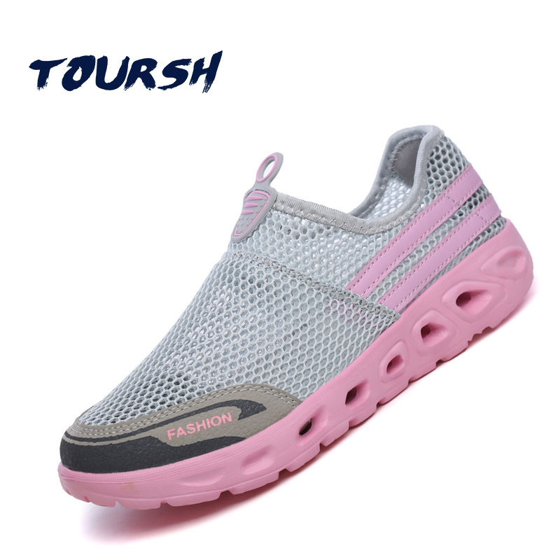 TOURSH 2018 Summer Women Shoes Light Sneakers Breathable Mesh Beach Shoes Female Cheap Casual Outdoor Lady Walking Flats Shoes summer sandals women leather breathable mesh outdoor super light flats shoes all match casual shoes aa40140