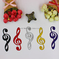Music Note Appliqued Black Musical Symbols Gold Embroidery Appliqued Iron On Patches 10-3.5CM 5 Pieces/Lot