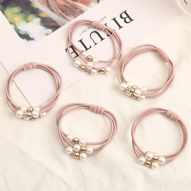 2018 Hair Accessories Pearl Elastic Rubber Bands Ring Headwear Girl Elastic Hair Band Ponytail Holder Scrunchy Rope Hair Jewelry 2