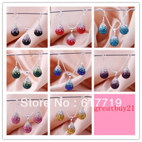 SS 049 925 Silver Shamballa Crystal Bead Water Drop Pendant Dangle Earring Necklace Jewelry Set 2013
