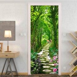 3D naklejki na drzwi zielone lasy mała droga Home Decor drzwi naklejki ścienne pcv wodoodporne samoprzylepne winylu ściany papieru drzwi do sypialni|Naklejki na drzwi|Dom i ogród -