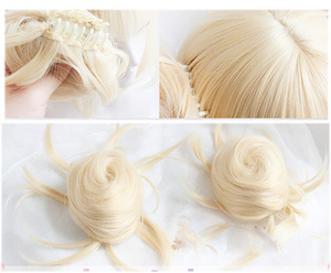 Image 3 - Anime My Boku no Hero Academia Akademia Himiko Toga Short Light Blonde Ponytails Heat Resistant Cosplay Costume Wig+Cap