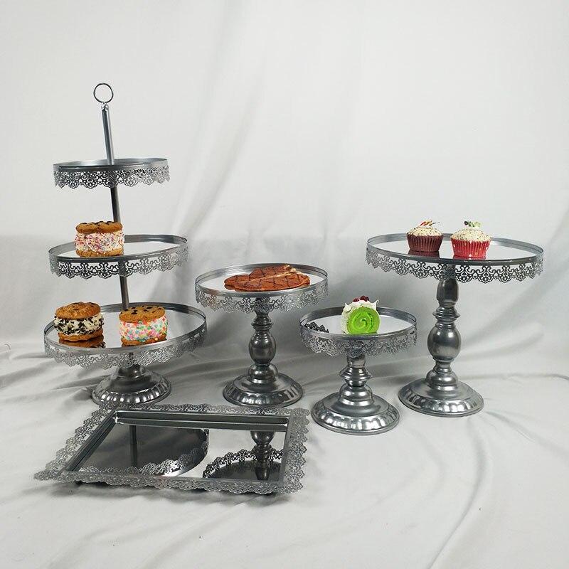 5 pièces/ensemble miroir décoration de mariage 3 niveaux Cupcake présentoir en métal gâteau Stand
