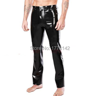 Solid Black Sexy Latex Man Trousers Rubber Pants Customers Rubber Jeans Back Pocket