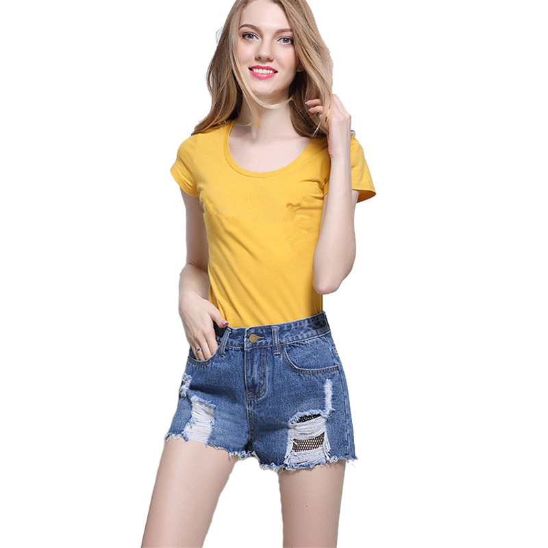 DTYNZ Fashion Summer Ladies Shorts Jeans Ripped Denim Shorts For Woman Distressed Short Jeans Mesh Patchwork
