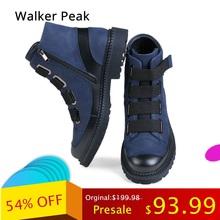 Fashion Men Winter Shoes, Genuine Leather Winter Boots for Man Waterproof Motorcycle Boots Comfortable Ankle Boots Walker peak
