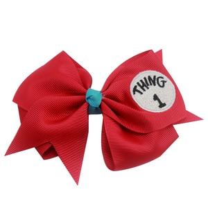 3 inch Dr Seuss Things1 2 3Lovely soild Hair Bows embroidery Grosgrain Ribbon Bows For girls Handmade Hair Clip Hair Accessories(China)