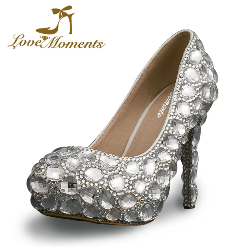 ФОТО love moments crystal rhinestone women wedding  white bridal shoes  married high-heel shoes platform female diamond escarpins