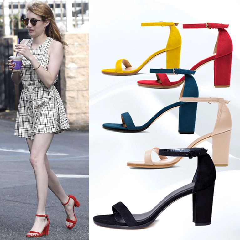ФОТО New Fashion 2017 New Arrival Five Color Famous Star Favorite Shoes Concise Middle Square Heel Peep Toe Lady Sandals Girls Pumps