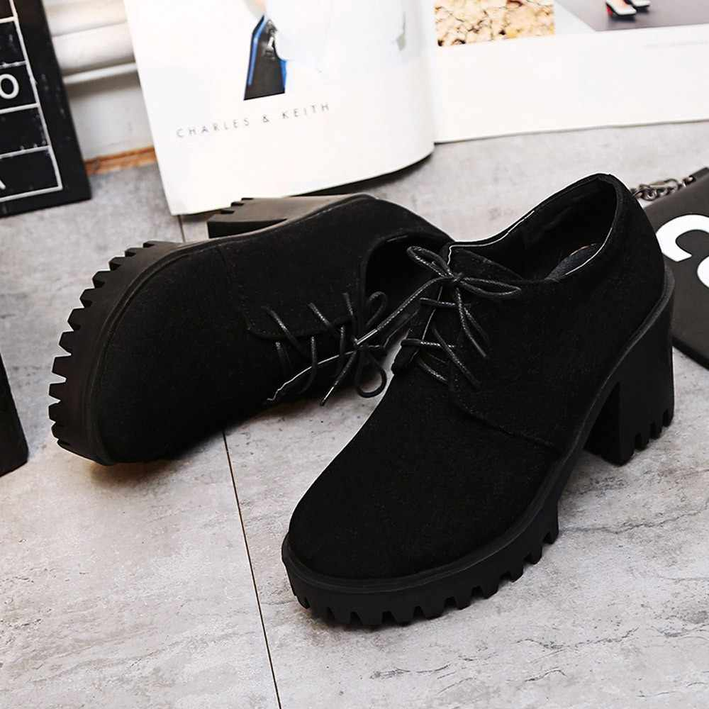 Winter Boots women 2018 Black Ankle Boots For Women Thick Heel Lace up Ladies Shoes Boots Bota Feminina #XTN