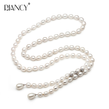 Fashion natural white Rice pearl Necklace girl gift ,80cm Freshwater pearl necklace jewelry for Women party gift недорого