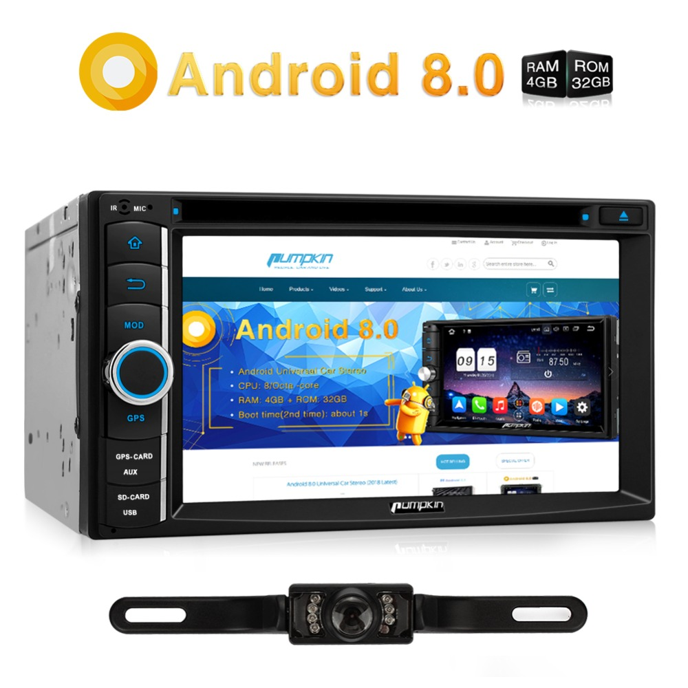 все цены на Pumpkin 2 Din Android 8.0 Universal Car DVD Player GPS Navigation Bluetooth Qcta-core Car Stereo FM Rds Radio OBD2 4G Headunit онлайн