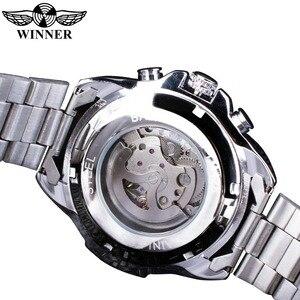 Image 4 - Мужские наручные часы Winner Sport, дизайнерские золотые часы с ободком, роскошные часы от топ бренда Montre Homme, Мужские автоматические часы в стиле стимпанк со скелетом