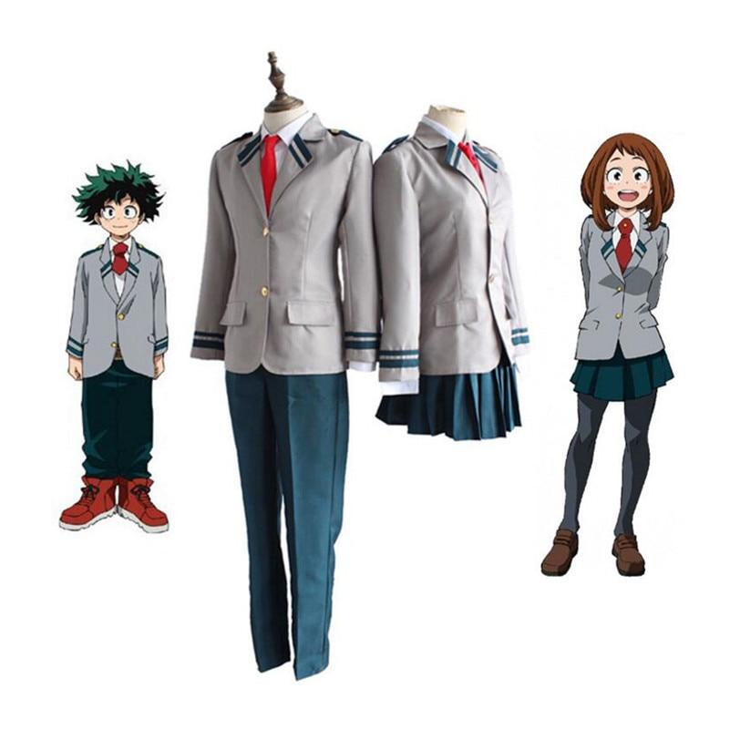 Anime Boku no Hero Academia Midoriya Izuku Bakugou Katsuki OCHACO URARAKA Cosplay Costume My Hero Academia School Uniform